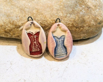 2 charms pendants for necklaces - retro shabby chic corset underwear art doll - ceramic earthy romantic supply, ooak handmade ceramic supply