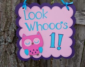 Owl Birthday Door Sign, Girl Owl Decorations