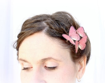 3 pink silk butterfly hair clips . china parasol . realistic gift for wedding, bride, bridesmaid, flower girl, birthday, sweet 16, prom