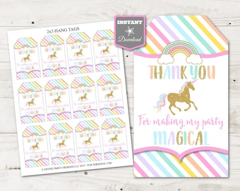 INSTANT DOWNLOAD Printable Unicorn Thank You For Making My Party Magical Hang Tags / Party Favors / Unicorns & Rainbows / Item #3514
