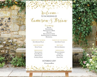 Wedding Program Sign Printable, Large Wedding Program Sign, Large Wedding Party Sign, Digital File, Black and Gold, The Giselle