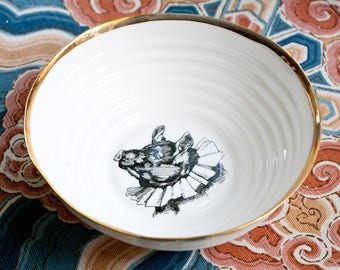 Ceramic Bowl with Pig, Porcelain Bowl with Gold Rim, Decorative Bowl with Vintage Drawing