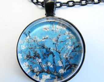 van Gogh BLOSSOMING ALMOND Necklace -- Vincent van Gogh art for nature lovers, Friendship token
