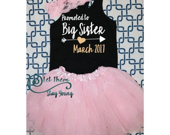 Promoted to Big Sister Baby Announcement Pregnancy announcement Big Sister Shirt Little Sister Shirt Sibling Shirts Sister Shirt Glitter