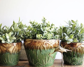 Vintage Robinson Ransbottom Flowerpots Flower Pots Planters Sun Burst Design 1940s Art Pottery Blended Green and Brown Glaze Home or Garden