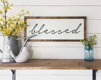 """Blessed   Simple Framed Wood Sign, Farmhouse Chic, Fixer Upper Wall Decor, Framed Wood Sign, 9"""" x 23"""""""