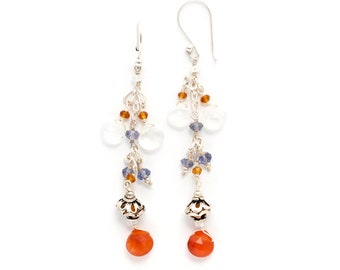 sterling silver chandelier french ear wire earrings with faceted beads of carnelian citrine iolite (AA1309)
