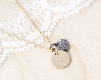 Personalised Gold and Pave Diamond Heart Necklace, 9ct Gold Initial and Pave Heart Necklace, Gold and Diamond Necklace