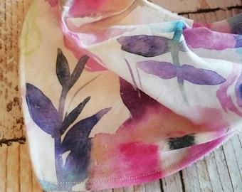 Bandana Bib - Girl Baby Bib - Baby Bib - Pink Purple Baby Bib - Girl Bandana Bib - Watercolor Floral Baby Bib - Drool Bib - Baby Shower Gift