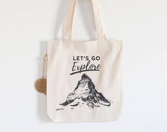 "Fabric bag Model ""Let's Go Explore"""