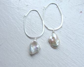 Keshi Pearl Earrings, Sterling Silver Earrings, June Birthday, Bridal Jewelry, Summer Bride, White Pearl Earrings,
