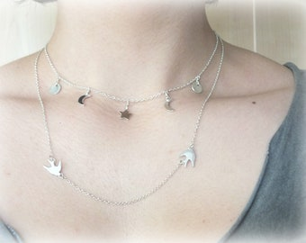Star and Moon Choker Necklace, Sterling Silver Moon and Star Choker, 925 Choker, Charm Necklace, Layering Moon Necklace, Dainty Necklace