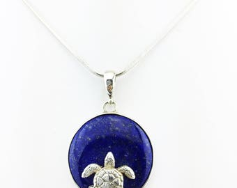 Lapis Lazuli Turtle Pendant Dark Blue 925 Sterling Silver 11.68 Grams