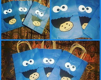 Cookie Monster favor bags...sesame street party..cookie monster goodie bags..set of 12, Cookie Monster party favor, Cookie Monster party