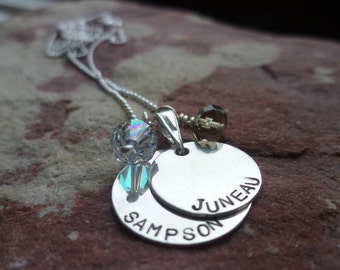 SPRING HAS SPRUNG special three handstamped personalized custom sterling duo necklaces