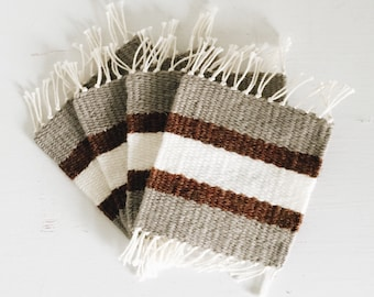 Woven Coasters | Set of 4 | Beige, Amber Brown, & White