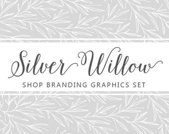 Modern Botanical Shop Branding Banners, Avatar Icons, Business Card, Logo Label + More - 13 Premade Graphics Files - SILVER WILLOW