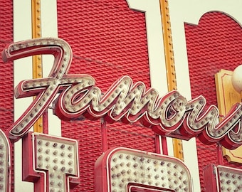 Famous Sign, Old Neon Sign Art Photography, Office Wall Art