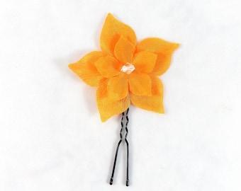 Orange silk - customizable flower hair clip