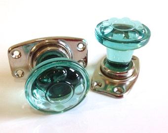 Vintage door knobs / door handles / green glass knobs