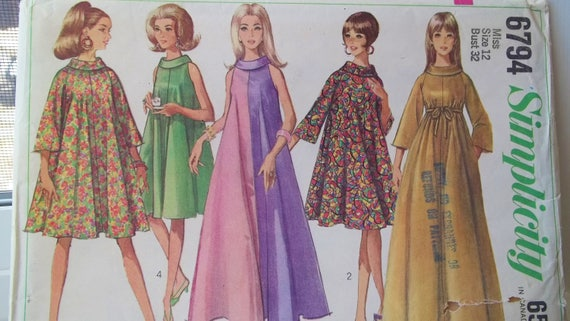 Misses\' Mod Trapez Kleid, Retro 60er Einfachheit 6794 Zelt Kleid ...