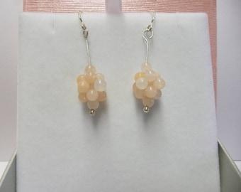 peach aventurine bubble earrings