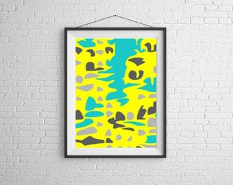 Art digital download, home decor art, daycare gift, yoga studio art, nursery print, vibrant painting, abstract pdf, abstract nursery art
