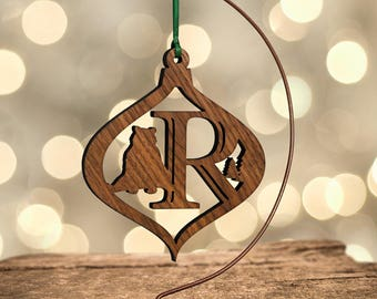 Bear Ornament with Letter R, Laser Cut Hardwood