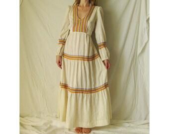 70s Rainbow Raw Cotton Maxi Dress XS S M