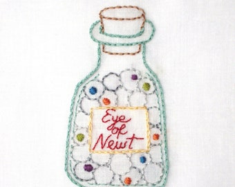 Witch's Eye of Newt Potion Bottle Halloween Hand Embroidery Pattern PDF