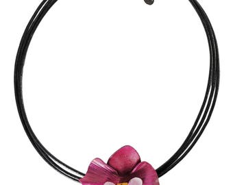 Flower necklace Orchid Purple Leather flower