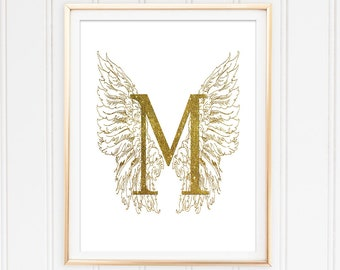 Monogram M Printable Art Glitter Gold Angel Wings Art Print Initial Personalized Decor Typographic Poster Instant Download Initial Printable