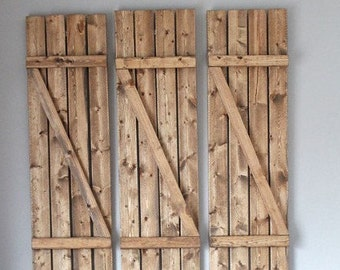 Indoor shutters,outdoor shutters,rustic shutters,z style shutters,wood shutters,farm house shutters,set of 2(a pair of shutters)
