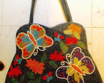 Sequinned 1990s floral bag