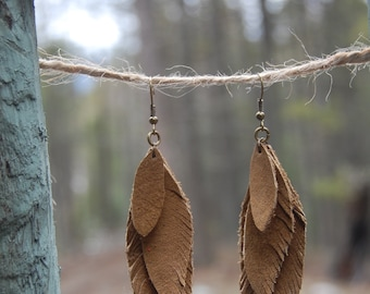 Stacked Leather Feather Earrings