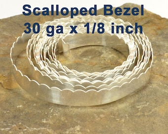 "30ga x 1/8"" Scalloped Bezel Wire - Fine Silver - Choose Your Length"