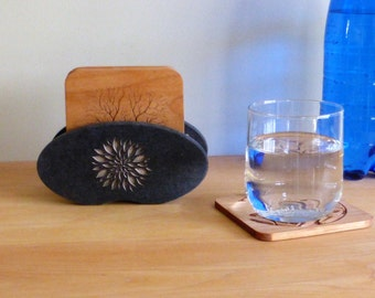 Carved Coasters with Black Holder