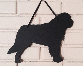 Saint Bernard Handmade Chalkboard Wall Hanging - St. Bernard Dog Shadow Silhouette - Great Gift