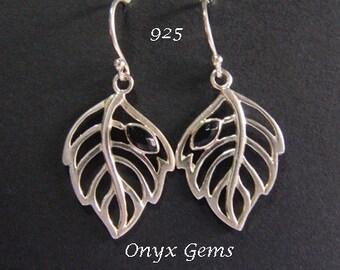 Silver Earrings: Sterling Silver Earrings with Black Onyx Gemstones, Stunning Drop Earrings | Silver Earrings, Dangle Earrings, 036