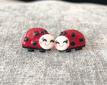 Ladybug Earrings, Ladybird Earrings For Girls Earrings, Ladybug Jewelry, Ladybird Jewelry For Girls, Gifts For Kids Jewelry, Stud Earrings