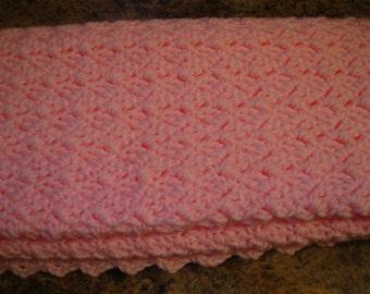 Handmade Pink Crochet Baby Blanket or Lap Blanket Afghan Baby Girl Baby Shower Gift Keepsake Ready to Ship
