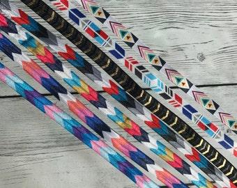 Chevron Tribal Feathers Printed FOE Fold Over Elastic