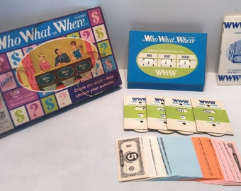 Vintage 1970 The Who What or Where Game Based on the NBC Television Great Condition Complete FREE SHIPPING