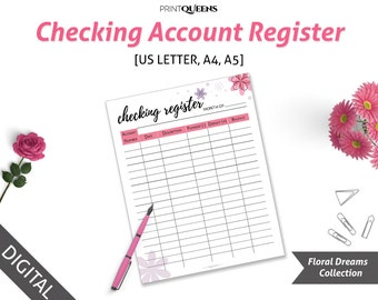 Check Register Planner Insert, Checking Register Printable, Check Book Register, CheckBook Register, Instant Download, A5/A4/US Letter