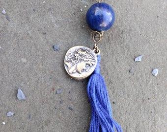 Bright Lapis & Coin Tassel Necklace