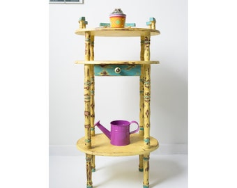 Telephone Table, table, yellow and blue, hand painted, coffee table, book table, flowers table