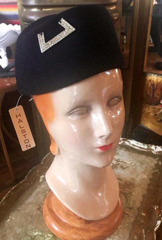 Vintage 1970s Deadstock Black Felt Halston Pill Box Hat