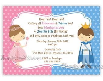 Princess And Prince Birthday Invitation Digital File