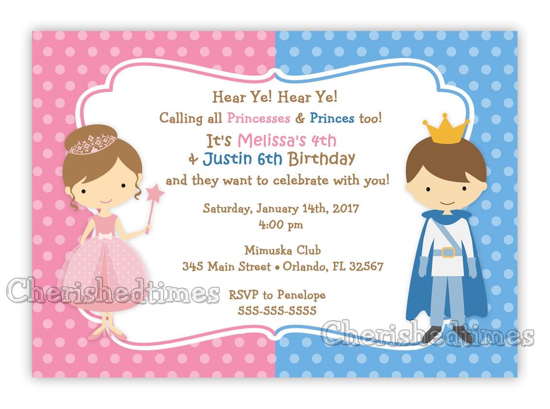Princess And Prince Birthday Invitation Digital File from ...