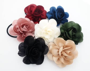 Handmade Mini Flower Hair Elastic Ponytail Holder Women Flower Hair Accessory